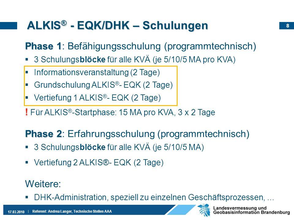 ALKIS® - EQK/DHK – Schulungen