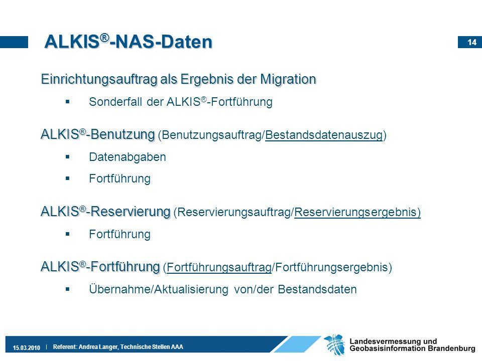 ALKIS®-NAS-Daten Einrichtungsauftrag als Ergebnis der Migration