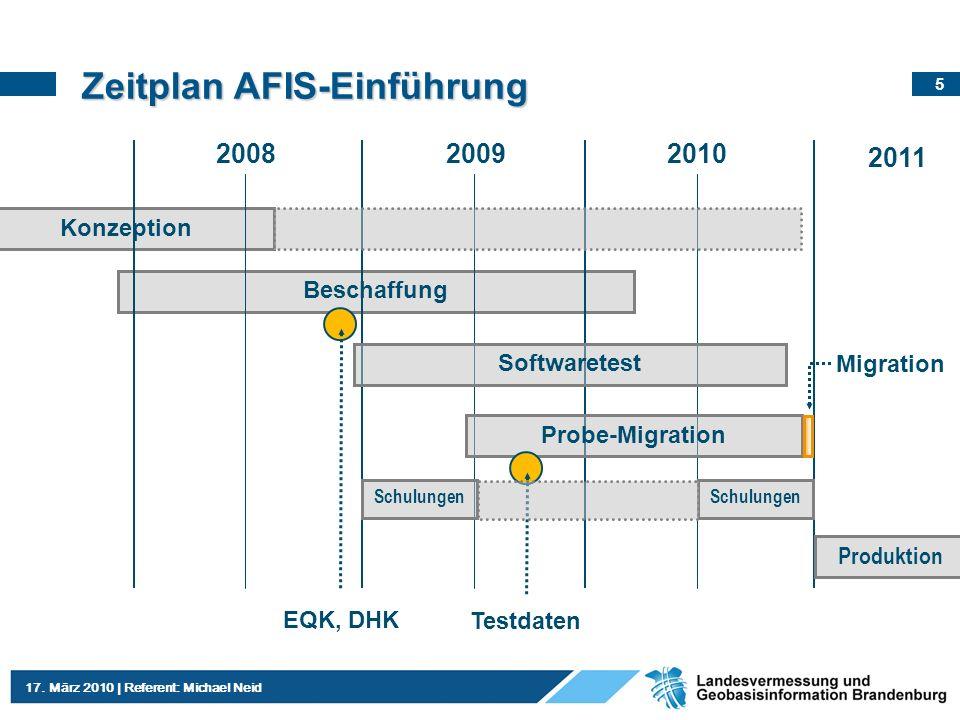 Zeitplan AFIS-Einführung