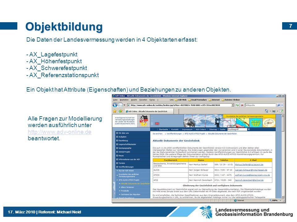ObjektbildungDie Daten der Landesvermessung werden in 4 Objektarten erfasst: