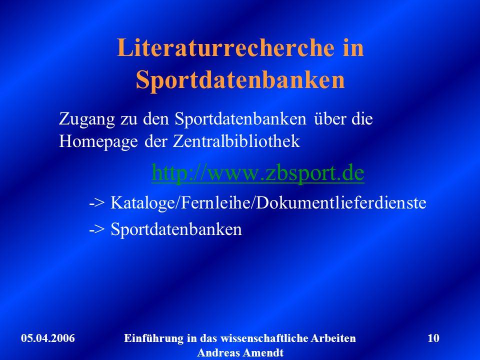 Literaturrecherche in Sportdatenbanken