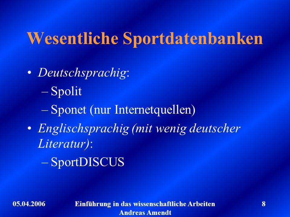 Wesentliche Sportdatenbanken