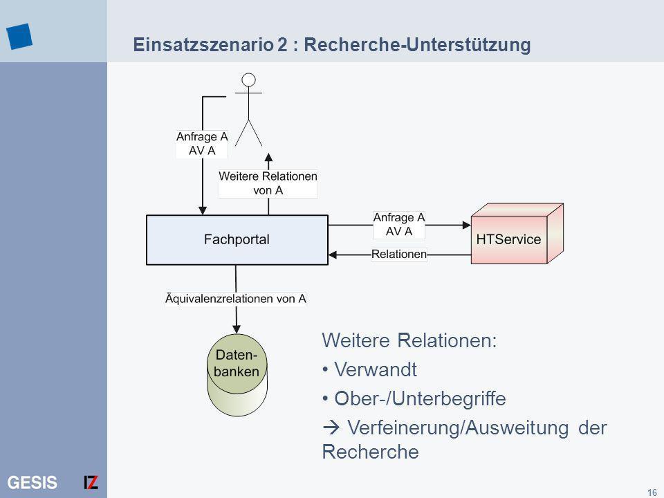 Einsatzszenario 2 : Recherche-Unterstützung