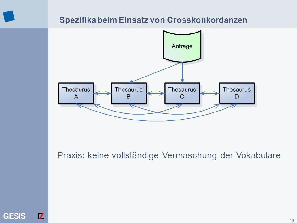 Spezifika beim Einsatz von Crosskonkordanzen