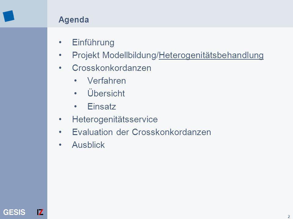Projekt Modellbildung/Heterogenitätsbehandlung Crosskonkordanzen