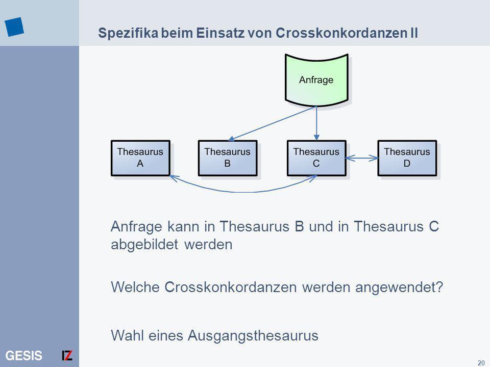 Spezifika beim Einsatz von Crosskonkordanzen II