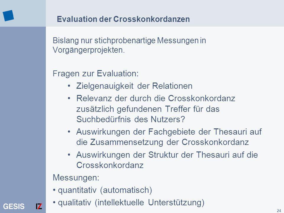 Evaluation der Crosskonkordanzen