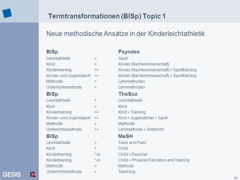 Termtransformationen (BISp) Topic 1