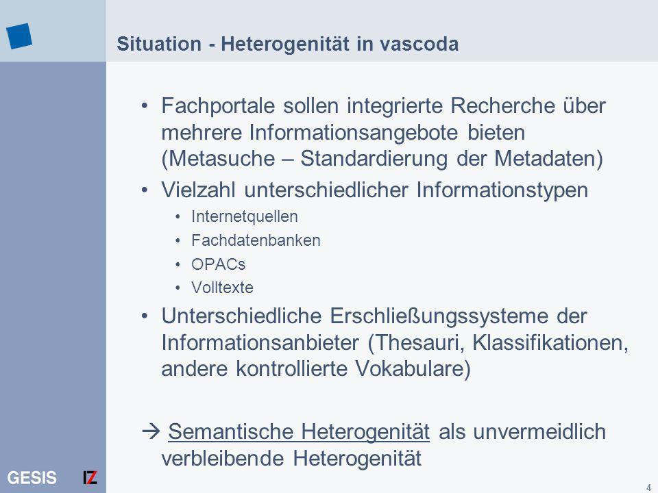 Situation - Heterogenität in vascoda