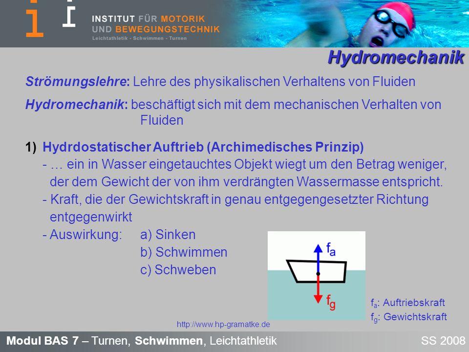Hydromechanik Strömungslehre: Lehre des physikalischen Verhaltens von Fluiden.