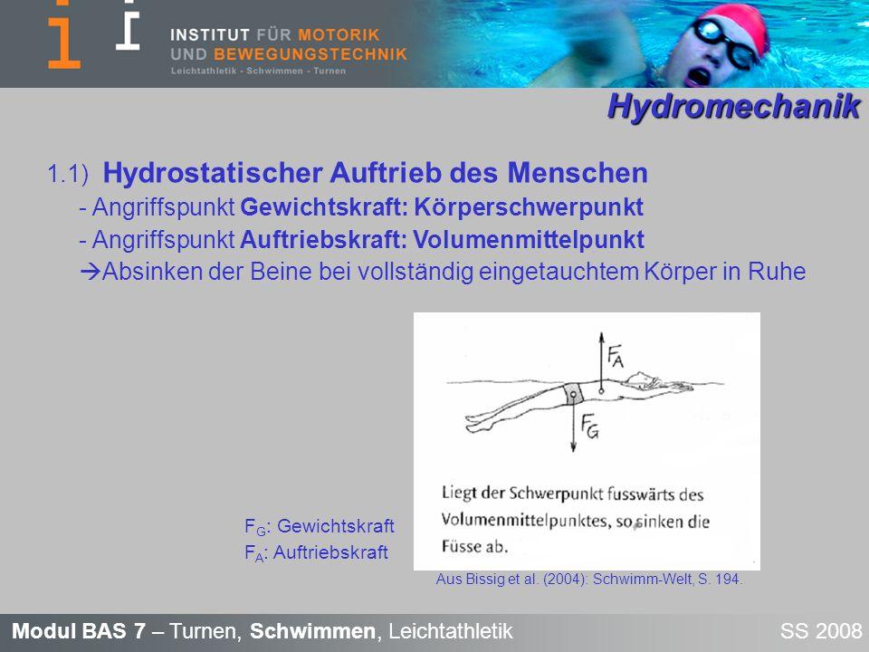 Hydromechanik 1.1) Hydrostatischer Auftrieb des Menschen