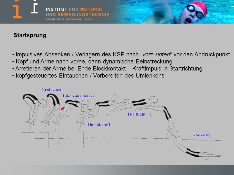 """Startsprung impulsives Absenken / Verlagern des KSP nach """"vorn unten vor den Abdruckpunkt. Kopf und Arme nach vorne, dann dynamische Beinstreckung."""