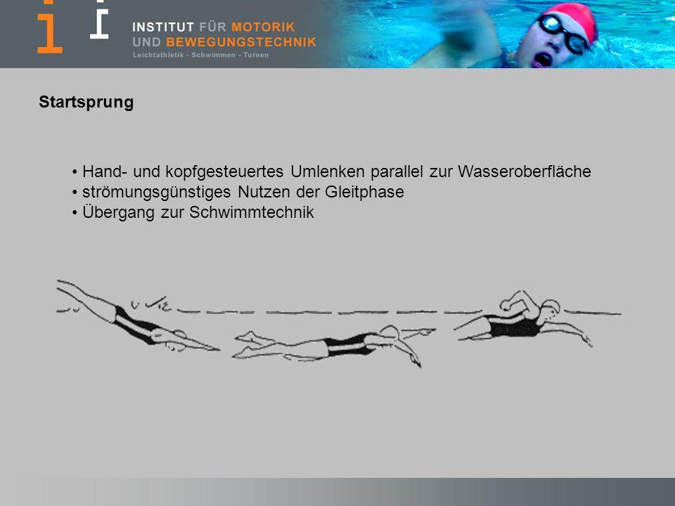 Startsprung Hand- und kopfgesteuertes Umlenken parallel zur Wasseroberfläche. strömungsgünstiges Nutzen der Gleitphase.