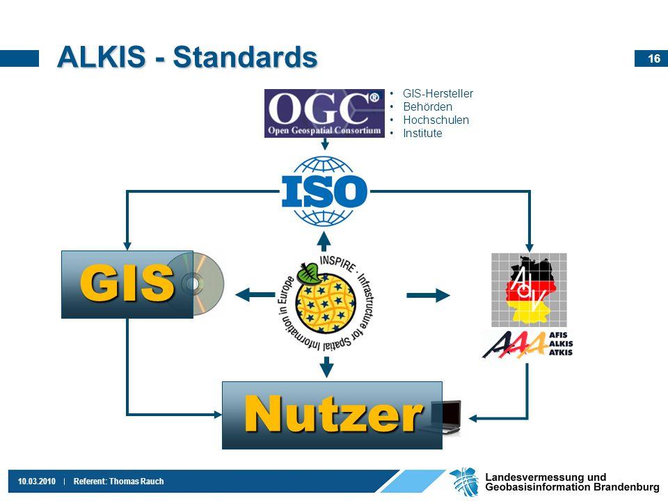 GIS Nutzer ALKIS - Standards GIS-Hersteller Behörden Hochschulen