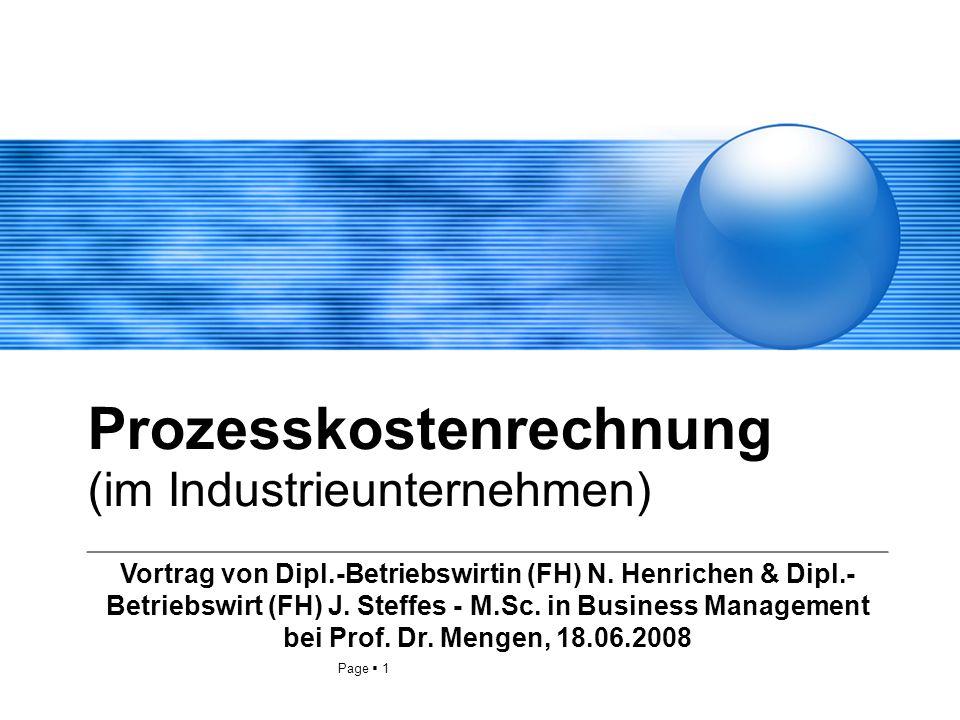 Prozesskostenrechnung (im Industrieunternehmen)