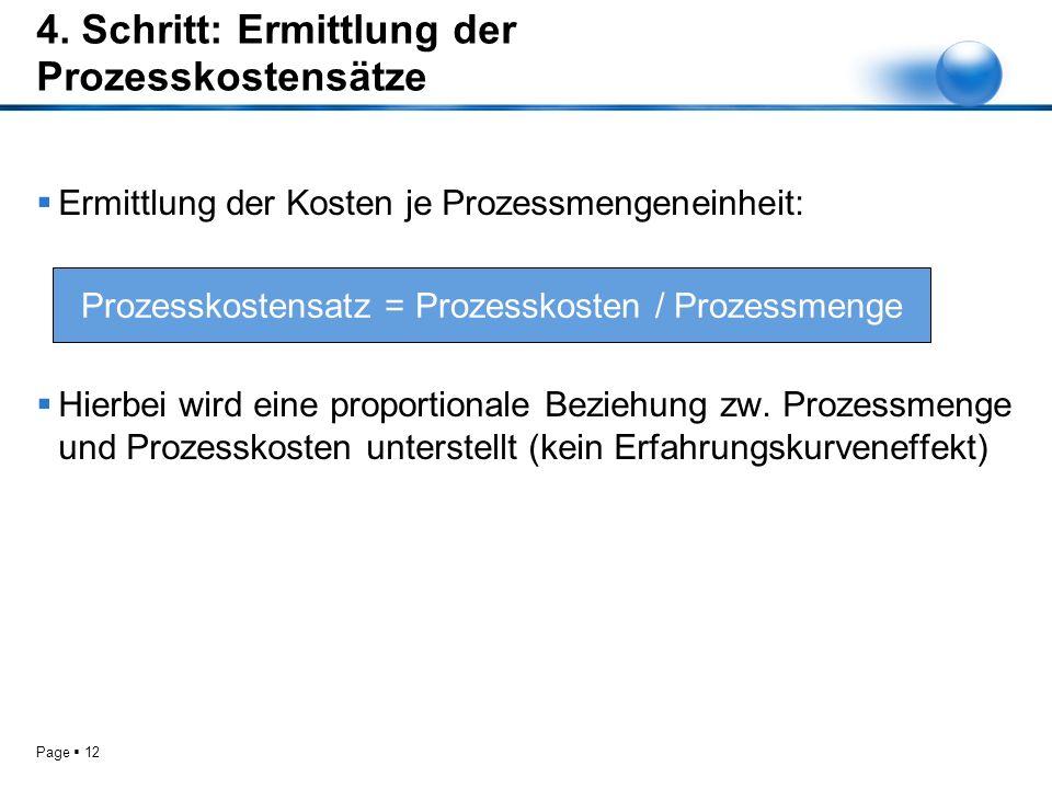 4. Schritt: Ermittlung der Prozesskostensätze