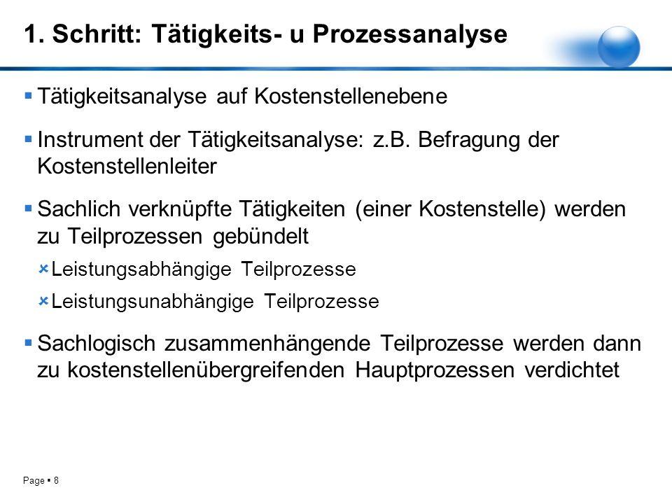 1. Schritt: Tätigkeits- u Prozessanalyse
