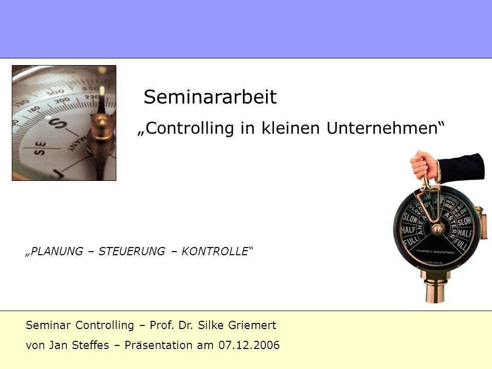"""""""Controlling in kleinen Unternehmen"""