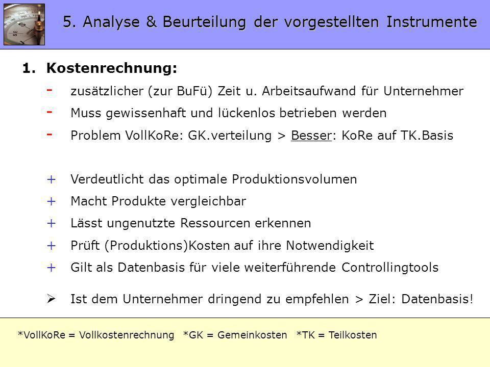 5. Analyse & Beurteilung der vorgestellten Instrumente