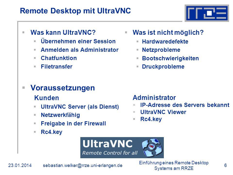 Remote Desktop mit UltraVNC