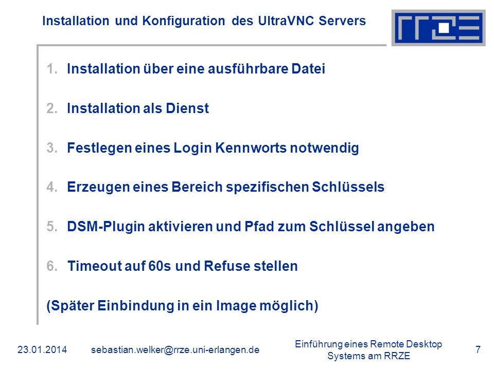 Installation und Konfiguration des UltraVNC Servers