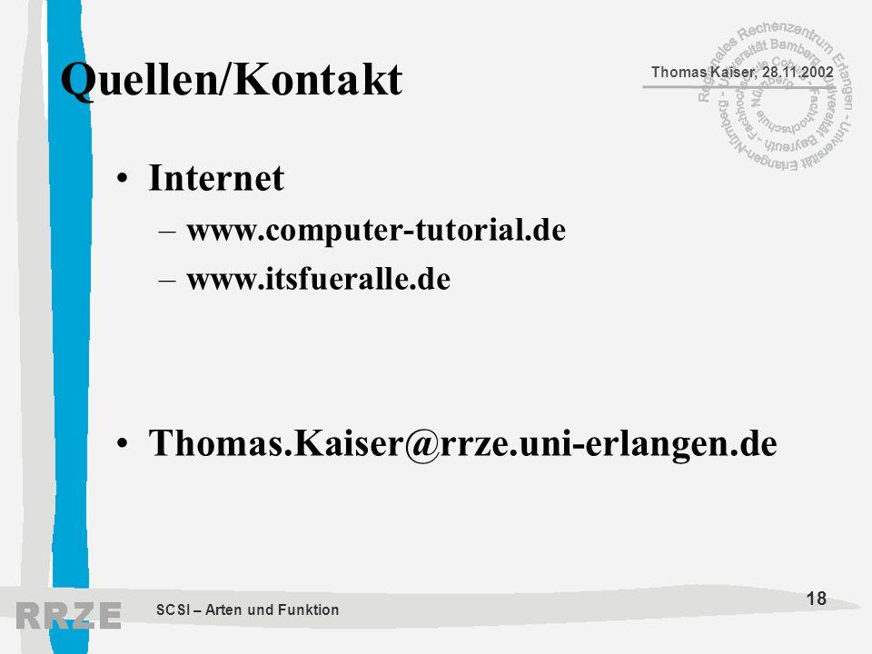 Quellen/Kontakt Internet Thomas.Kaiser@rrze.uni-erlangen.de