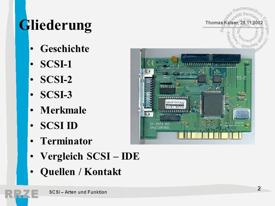 Gliederung Geschichte SCSI-1 SCSI-2 SCSI-3 Merkmale SCSI ID Terminator