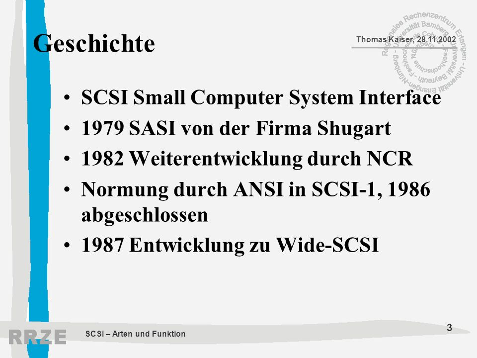 Geschichte SCSI Small Computer System Interface