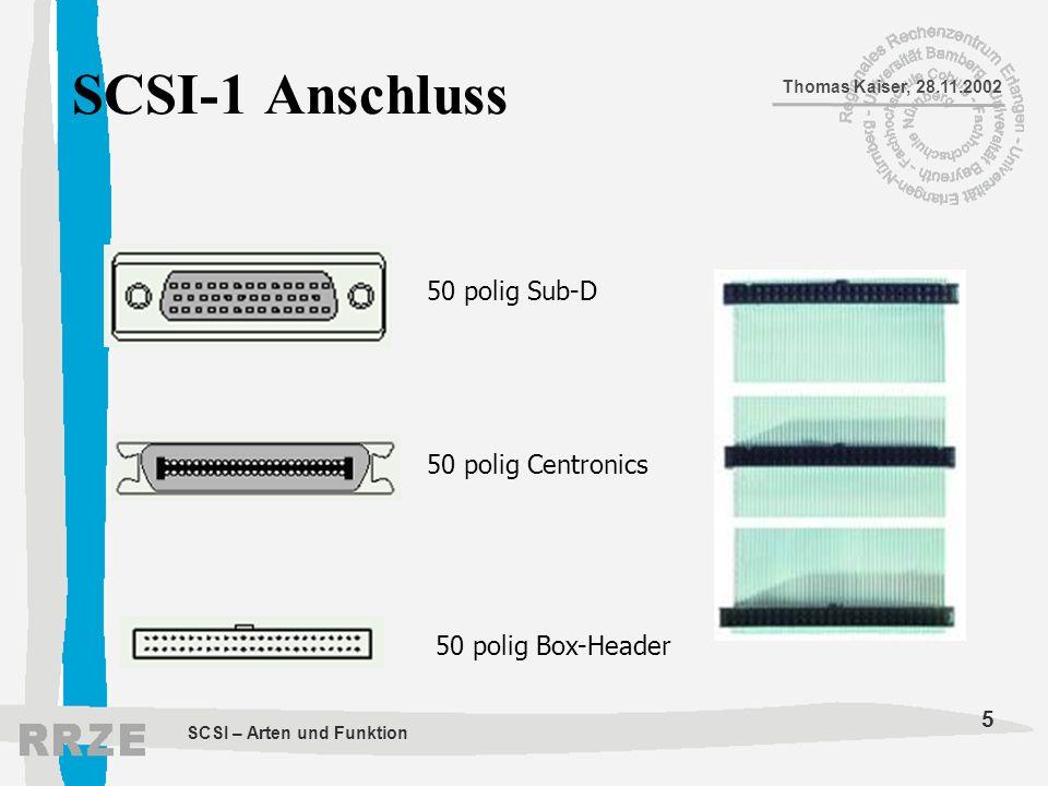 SCSI-1 Anschluss 50 polig Sub-D 50 polig Centronics