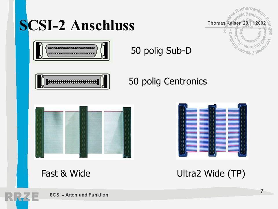 SCSI-2 Anschluss 50 polig Sub-D 50 polig Centronics Fast & Wide