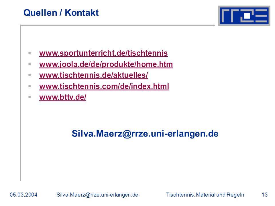 Quellen / Kontakt Silva.Maerz@rrze.uni-erlangen.de