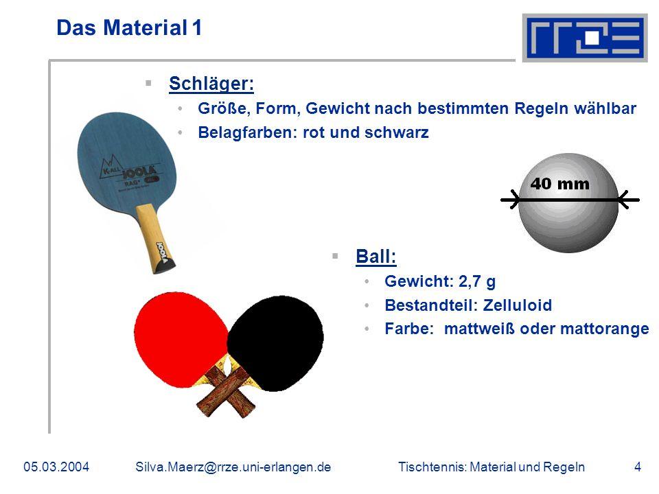 Das Material 1 Schläger: Ball: