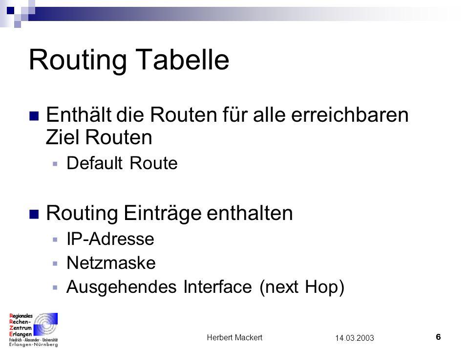 Routing Tabelle Enthält die Routen für alle erreichbaren Ziel Routen