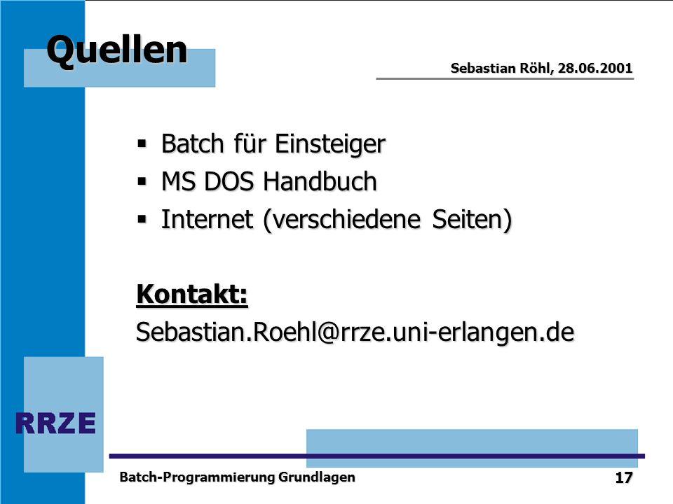 Quellen Batch für Einsteiger MS DOS Handbuch