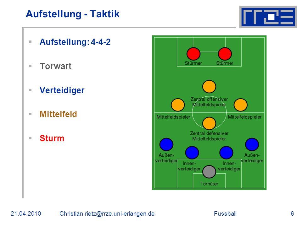Aufstellung - Taktik Aufstellung: 4-4-2 Torwart Verteidiger Mittelfeld