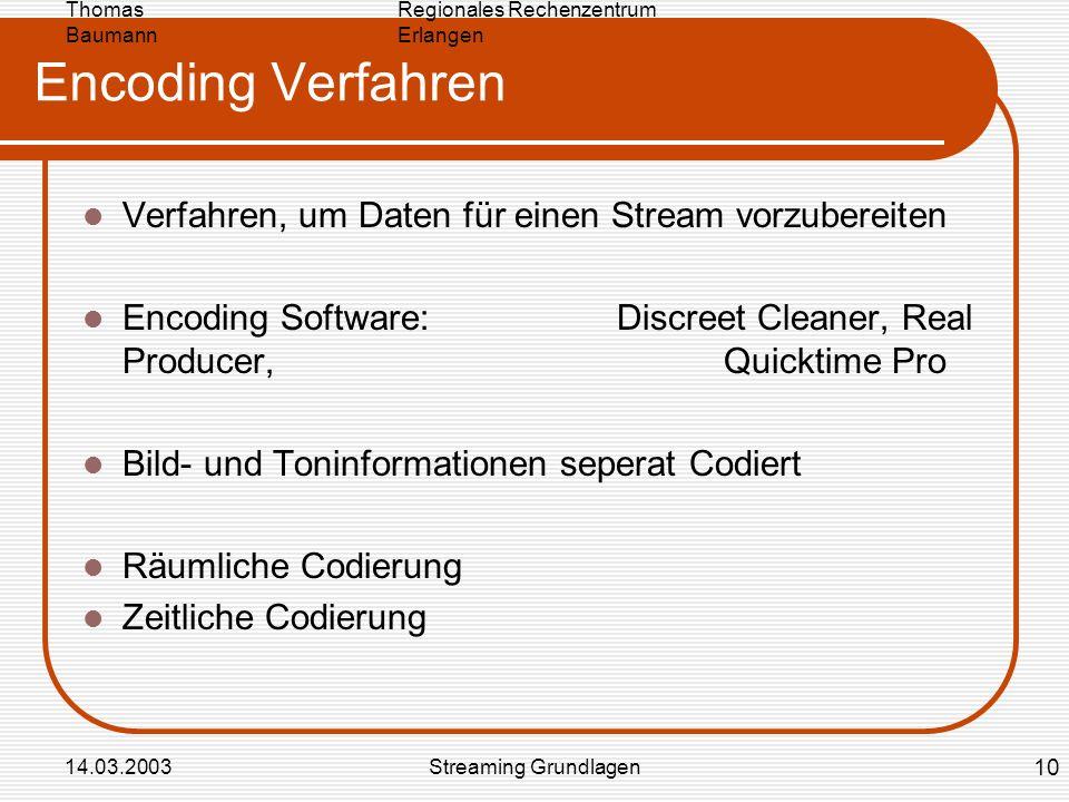 Encoding Verfahren Verfahren, um Daten für einen Stream vorzubereiten