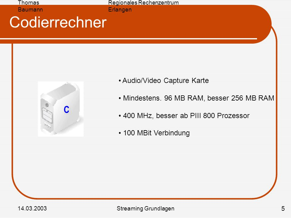 Codierrechner C Audio/Video Capture Karte
