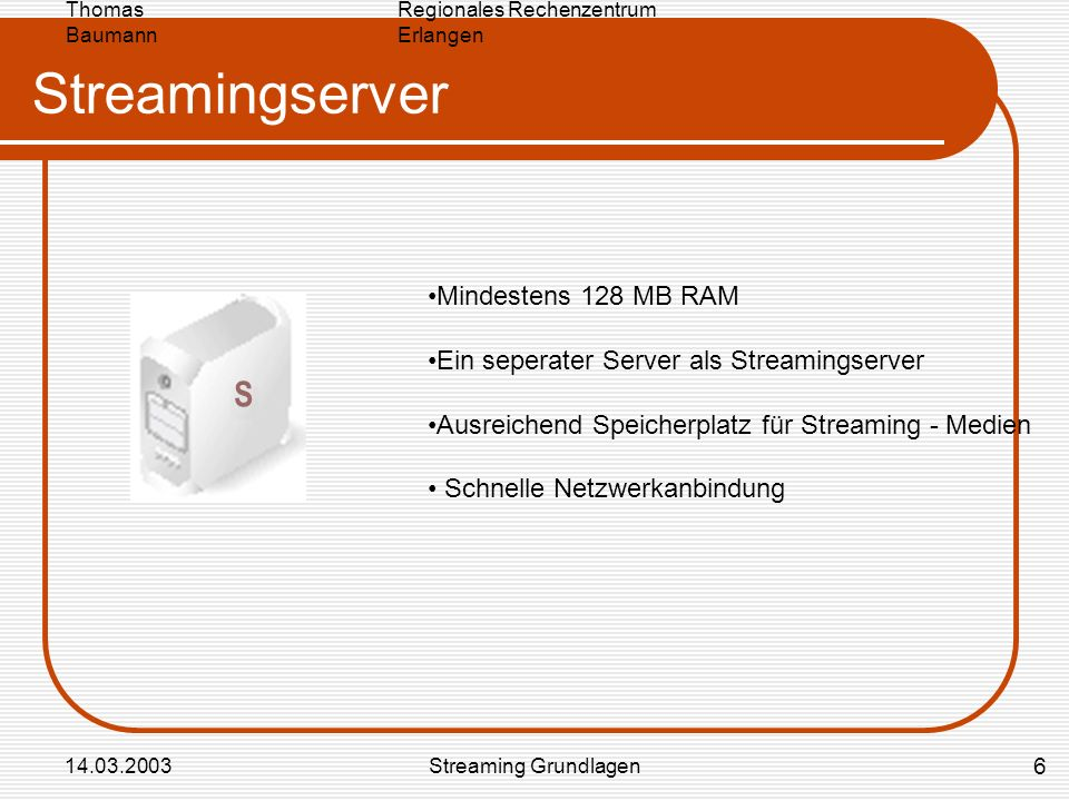 Streamingserver S Mindestens 128 MB RAM