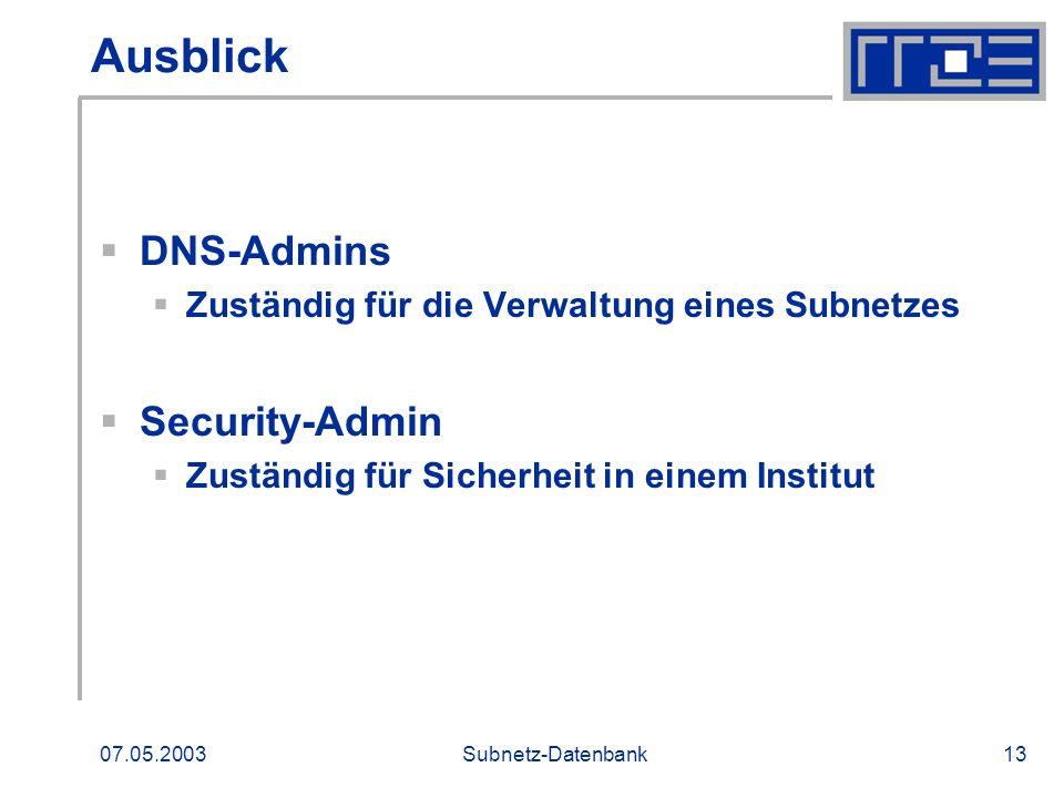 Ausblick DNS-Admins Security-Admin