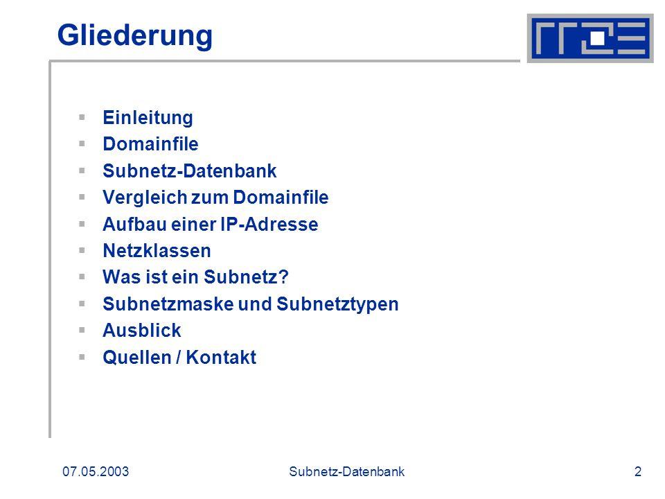Gliederung Einleitung Domainfile Subnetz-Datenbank