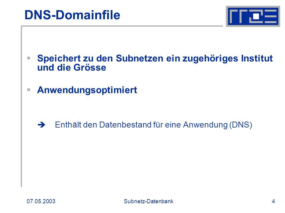 DNS-DomainfileSpeichert zu den Subnetzen ein zugehöriges Institut und die Grösse. Anwendungsoptimiert.