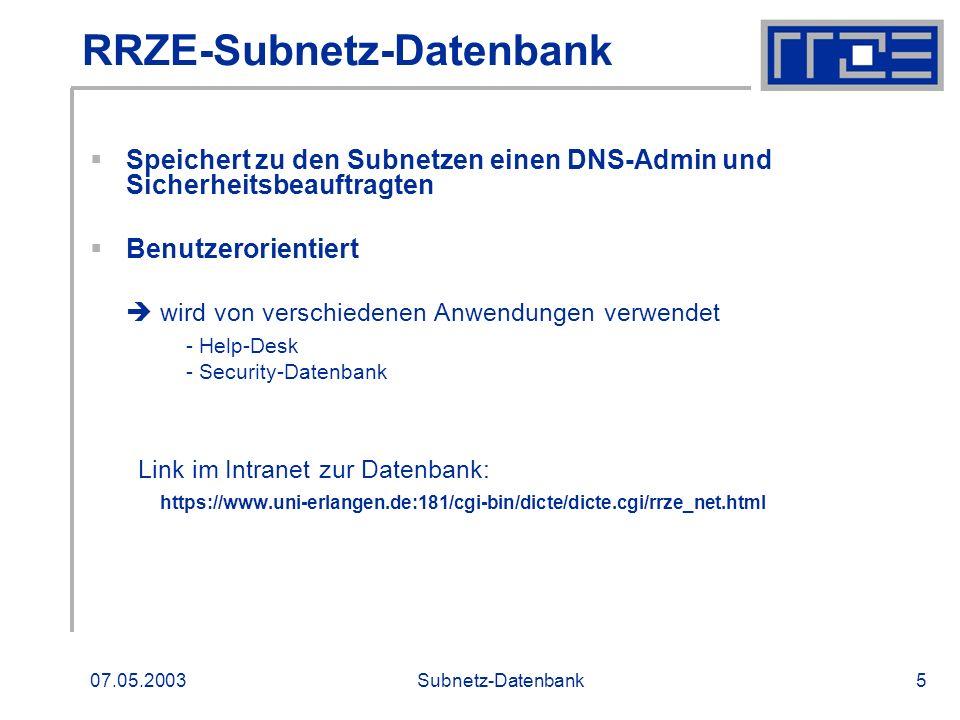 RRZE-Subnetz-Datenbank