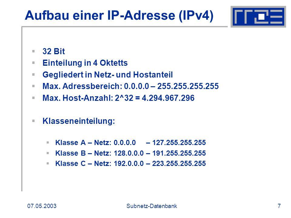 Aufbau einer IP-Adresse (IPv4)