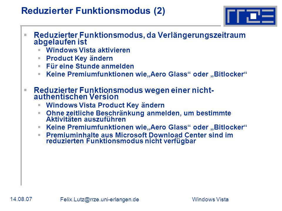 Reduzierter Funktionsmodus (2)