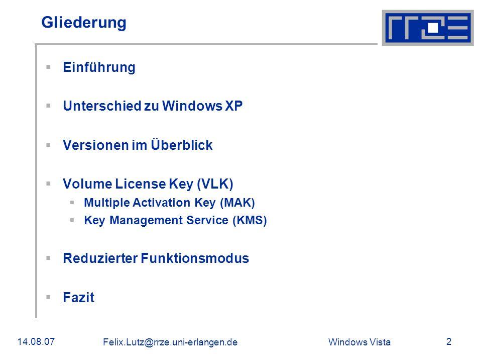 Gliederung Einführung Unterschied zu Windows XP Versionen im Überblick