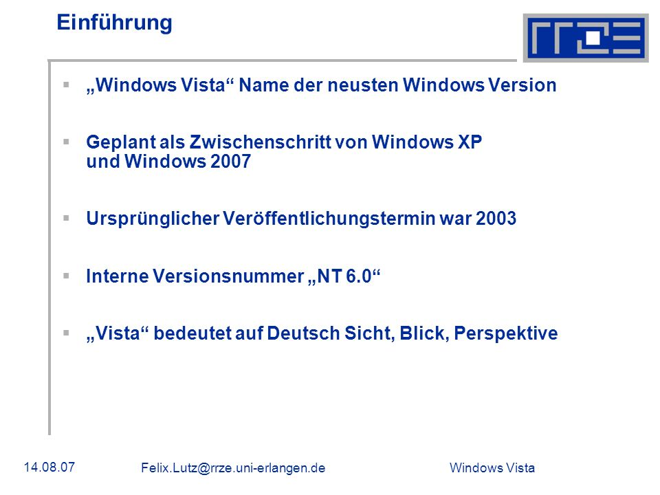 "Einführung ""Windows Vista Name der neusten Windows Version"