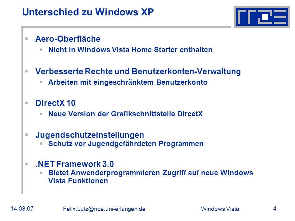 Unterschied zu Windows XP