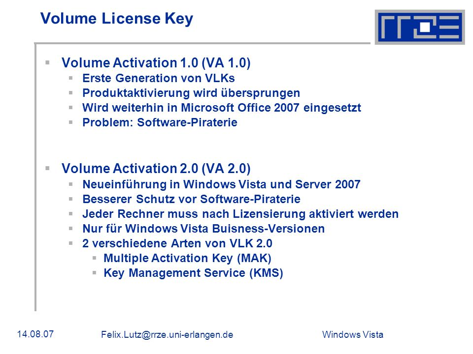 Volume License Key Volume Activation 1.0 (VA 1.0)