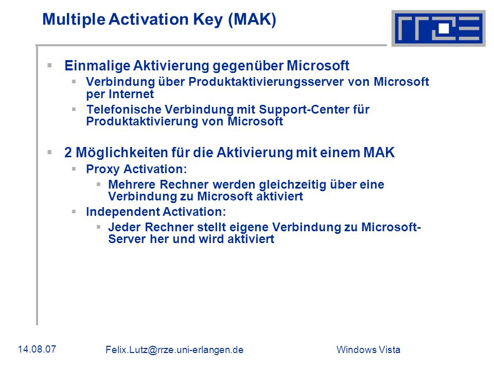 Multiple Activation Key (MAK)