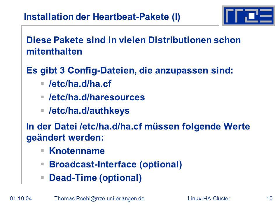 Installation der Heartbeat-Pakete (I)